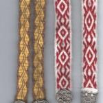 Paire de jarretières en lin, ceinture en laine, tissage plaquette, boucles: Boutefeu Créations