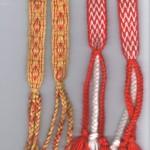 Paires de jarretières, tissage plaquette, lin/coton